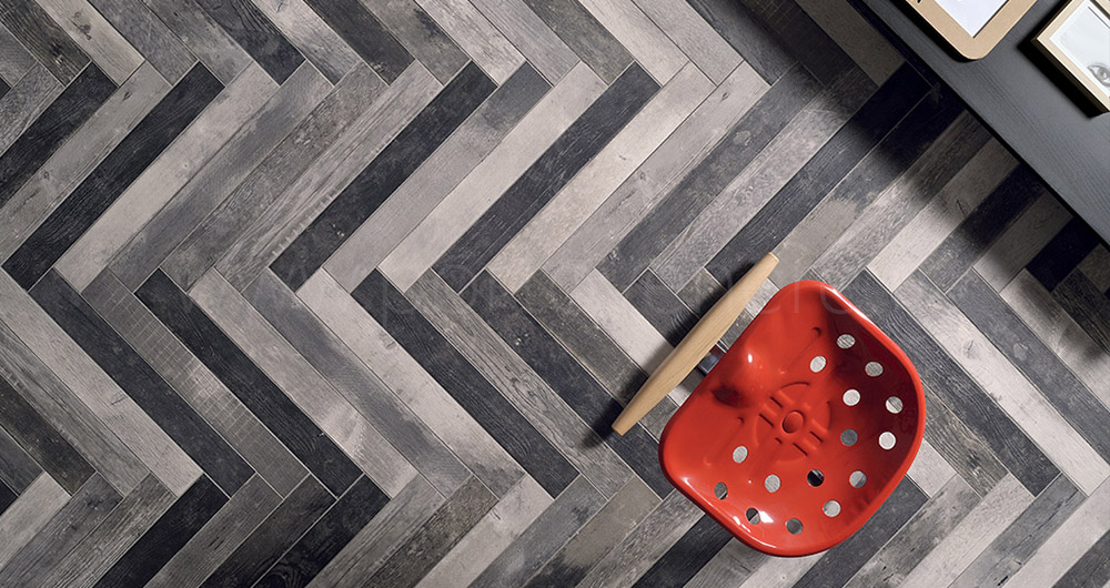 Carrelage imitation parquet Chevrons