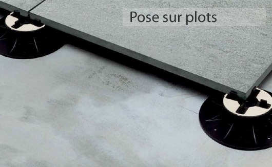 Dalles ext rieures 20mm gr s c rame pour pose sur plots for Pose dalles sur plots