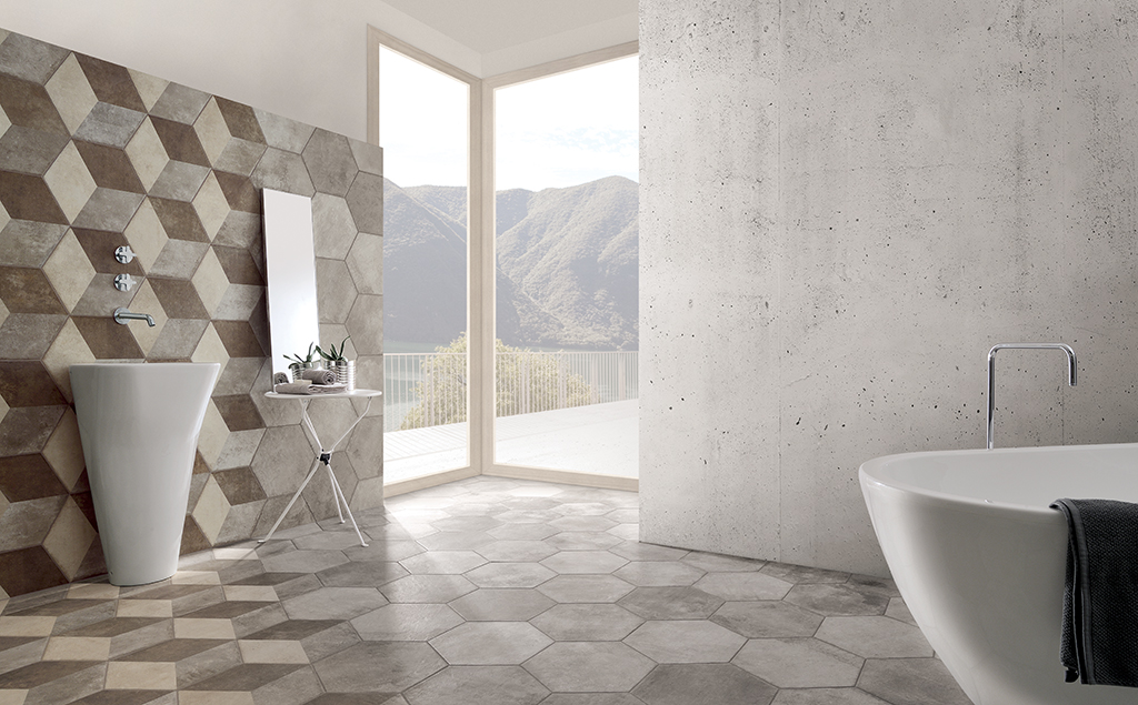Carrelage de salle de bain style carreau ciment hexagonal for Carrelage salle de bain beige texture