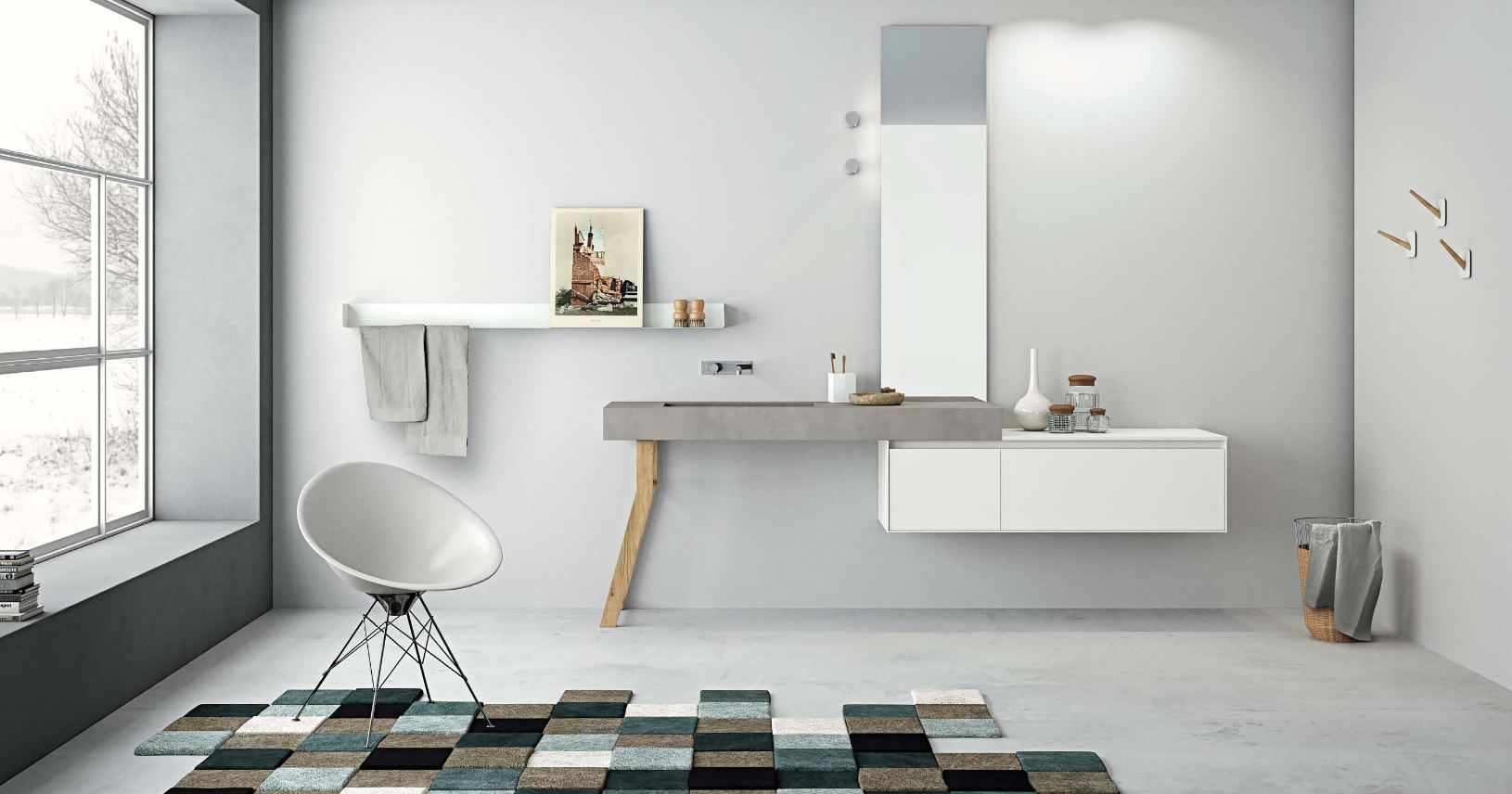 meuble salle de bain design blanc beton gris mb2 arr 1 2 porto venere. Black Bedroom Furniture Sets. Home Design Ideas
