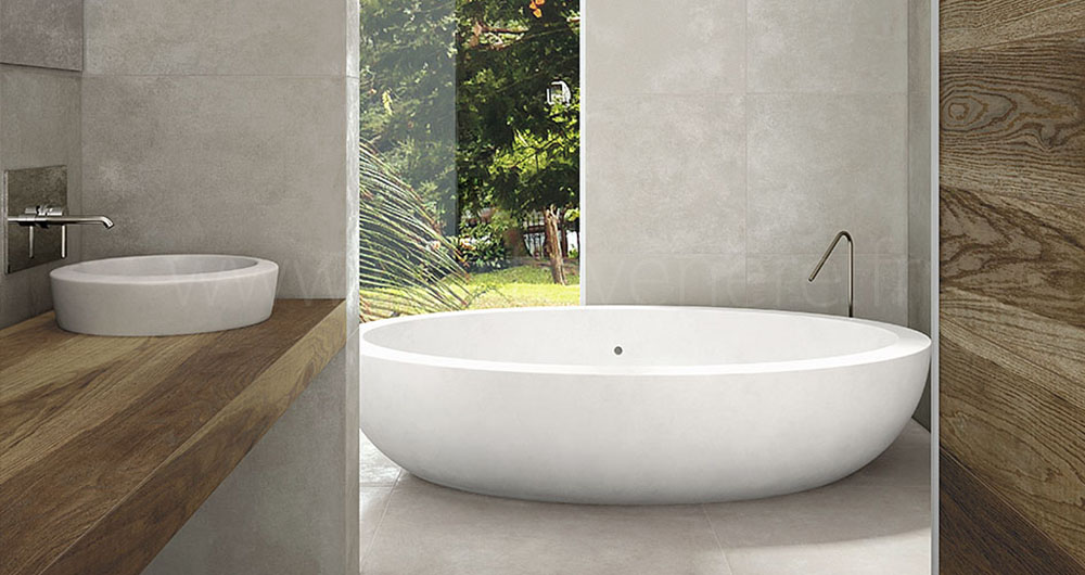 Les carrelages contemporains et design porto venere for Salle de bain sol gris mur blanc