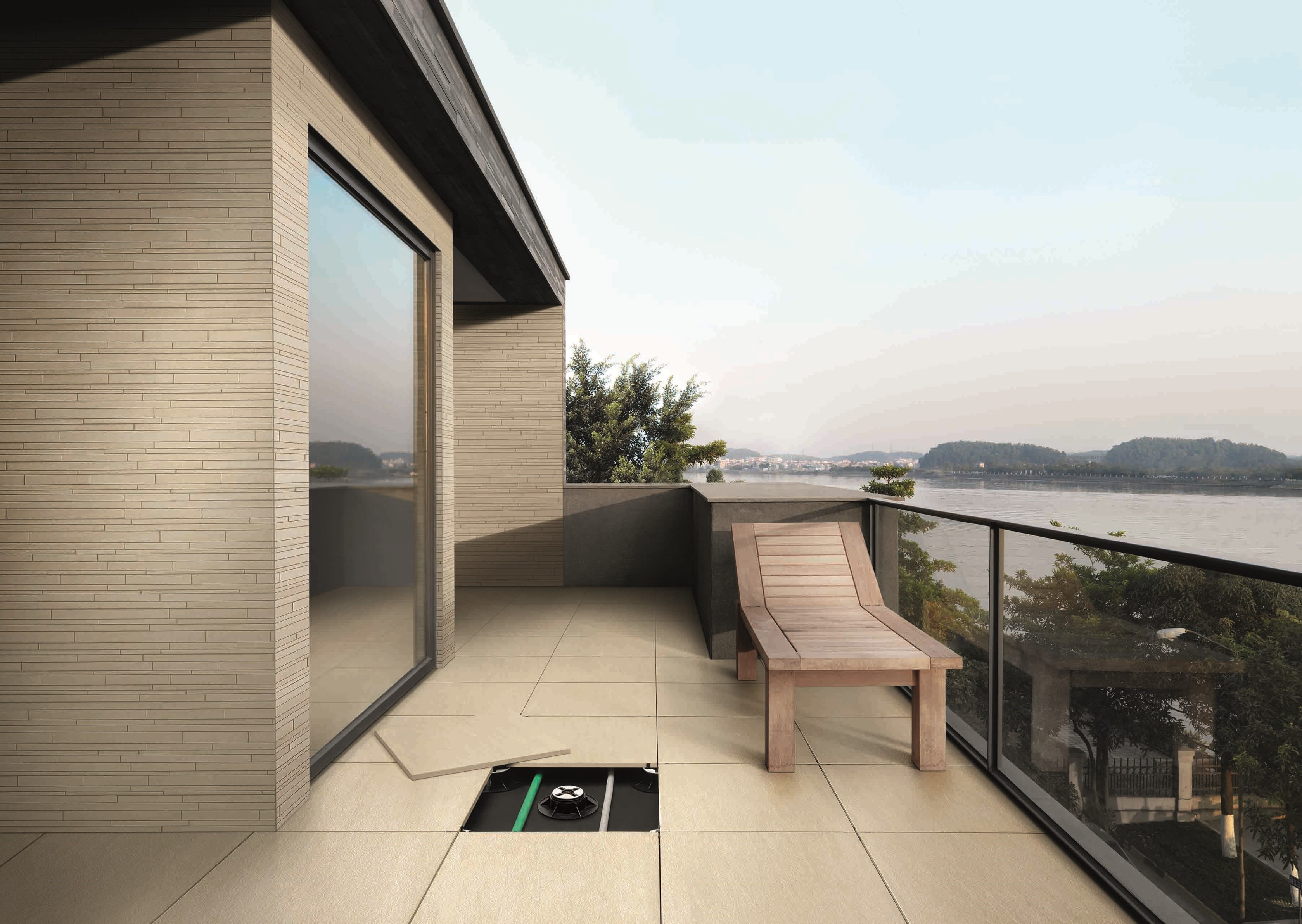 Dalles contemporaines gr s c rame pour terrasse sur plots for Dalles de terrasse sur plots
