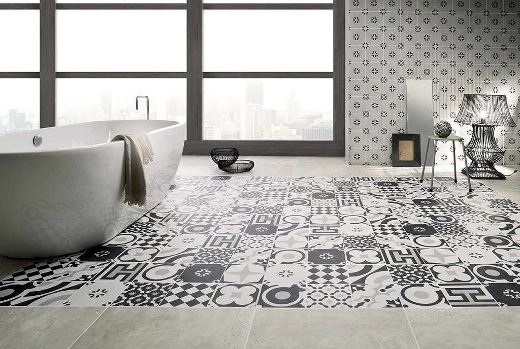 Carrelage gr s c rame aspect carreau ciment noir et blanc for Carreau salle de bain gris