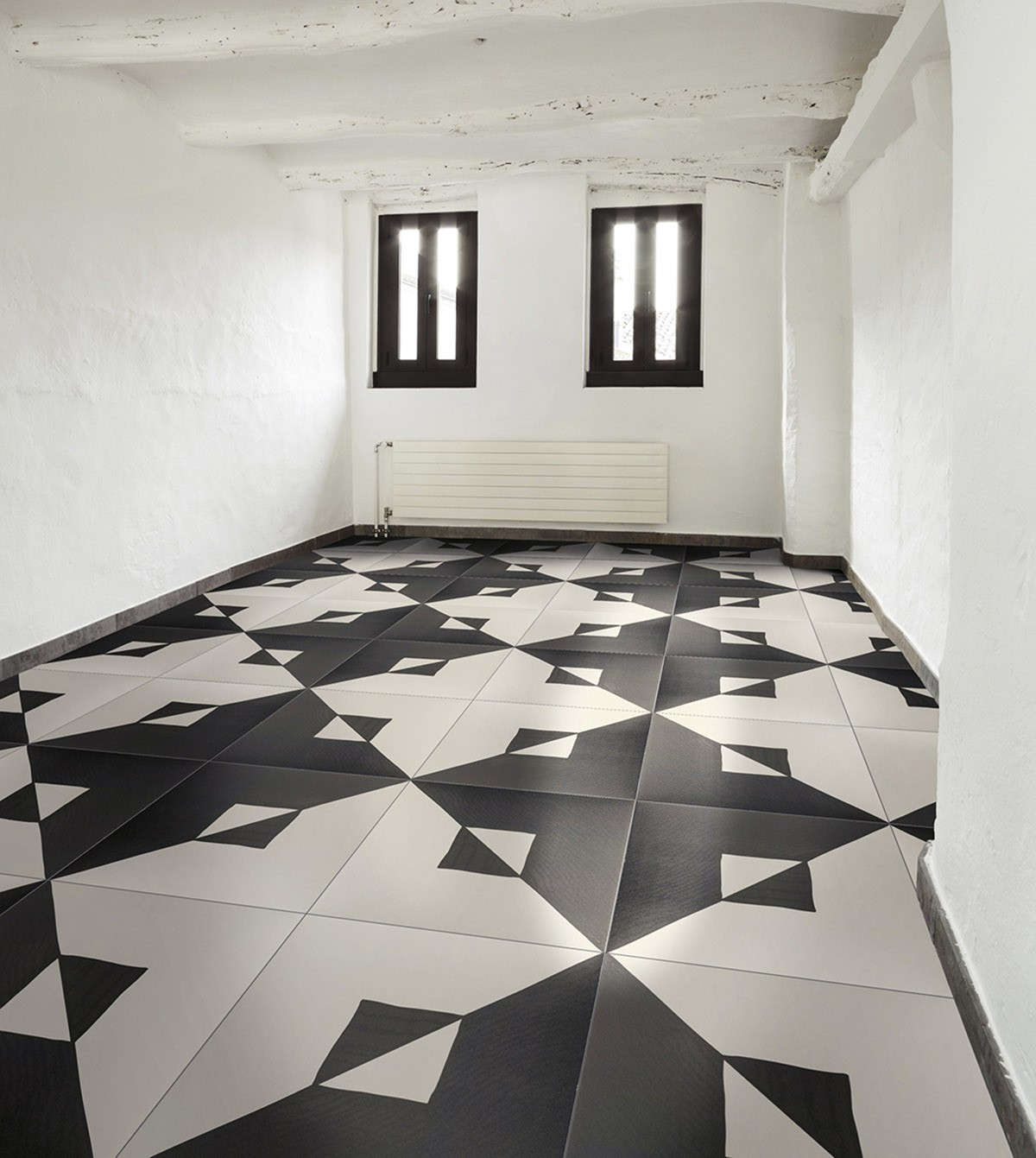 Carrelage aspect carreau ciment noir et blanc tangle bianco e nero porto ve - Carrelage ciment noir et blanc ...