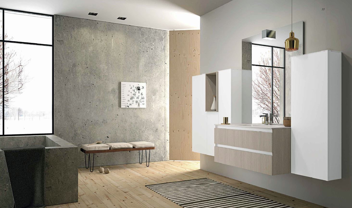 meuble de salle de bain suspendu blanc et bois clair mb2 duomo composition 2 porto venere. Black Bedroom Furniture Sets. Home Design Ideas