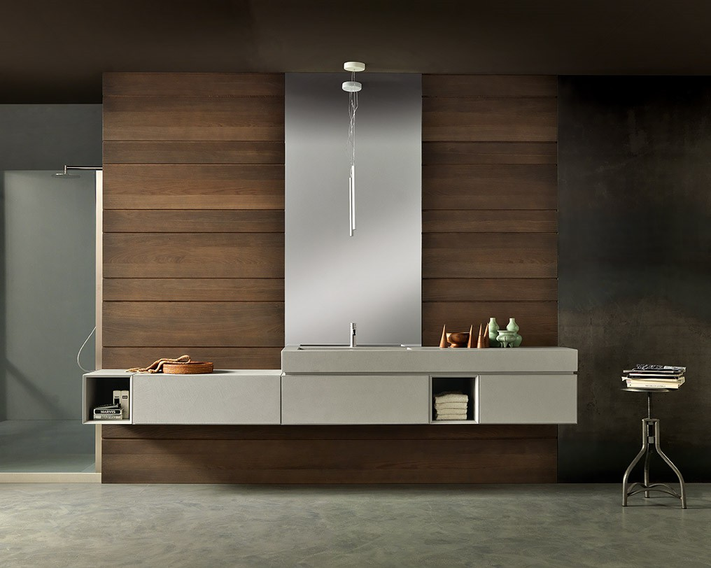meuble de salle de bain suspendu en r sine aspect b ton gris mb3 infinity composition 2 porto. Black Bedroom Furniture Sets. Home Design Ideas