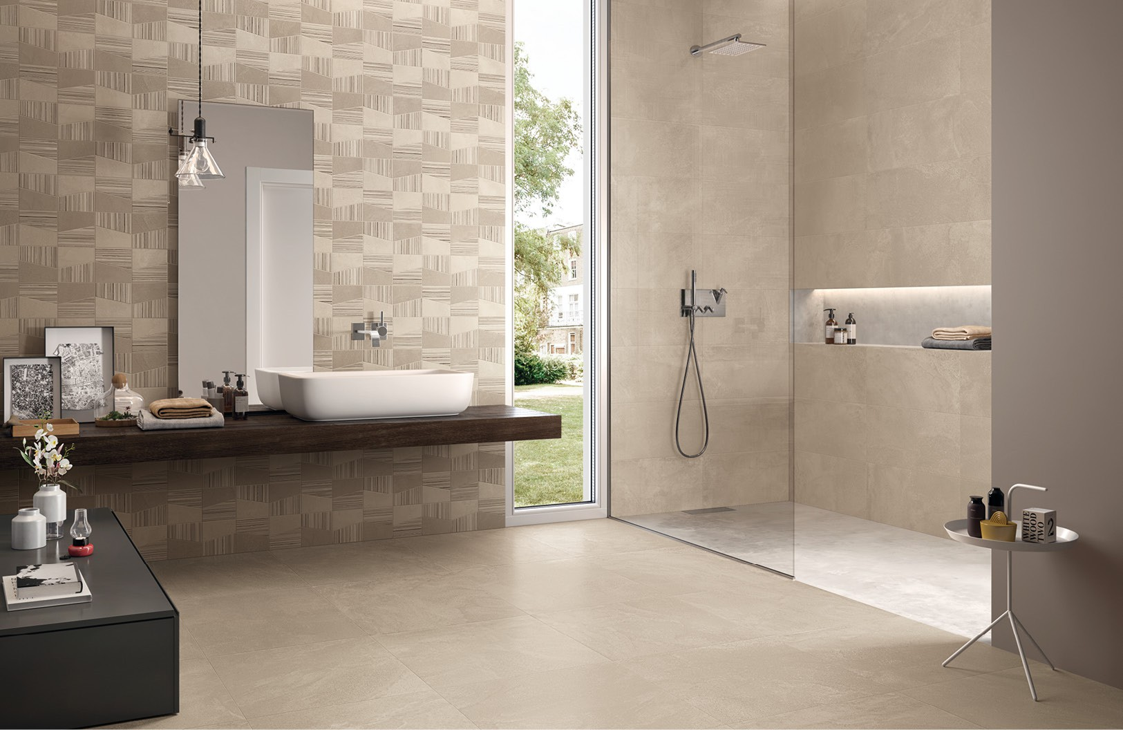 Carrelage salle de bain contemporain for Salle de bain grand carrelage