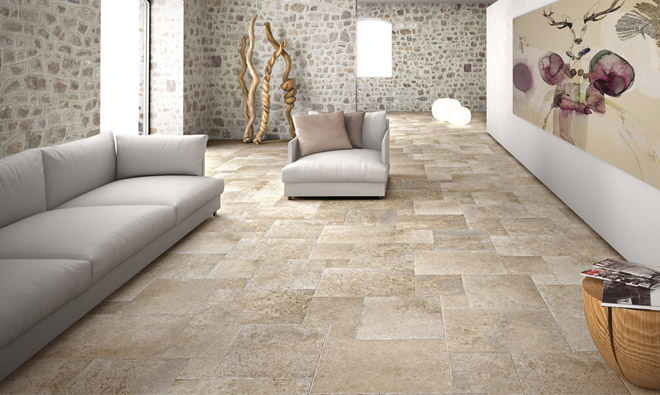 Carrelage aspect pierre pierre d 39 abbaye ecru porto venere for Carrelage pierre bleue interieur