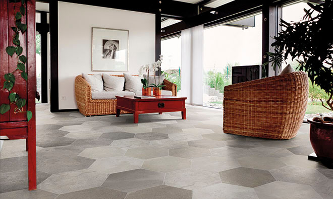 Carrelage contemporain nuanc innovation ferro porto venere for Carrelage hexagonal marbre