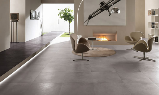 Carrelage contemporain b ton cir gris porto venere for Carrelage 80x80 gris