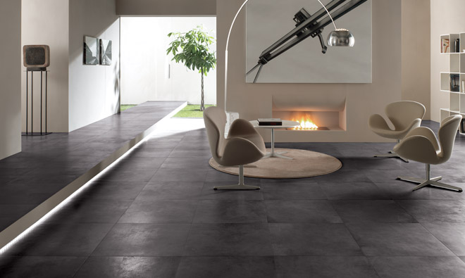 Carrelage contemporain b ton cir noir porto venere for Beton cire sur carrelage