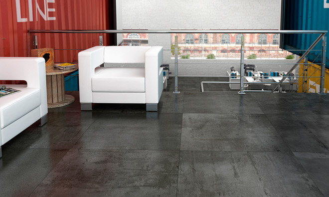 Carrelage contemporain metal generation black porto venere for Carrelage 90x90 gris