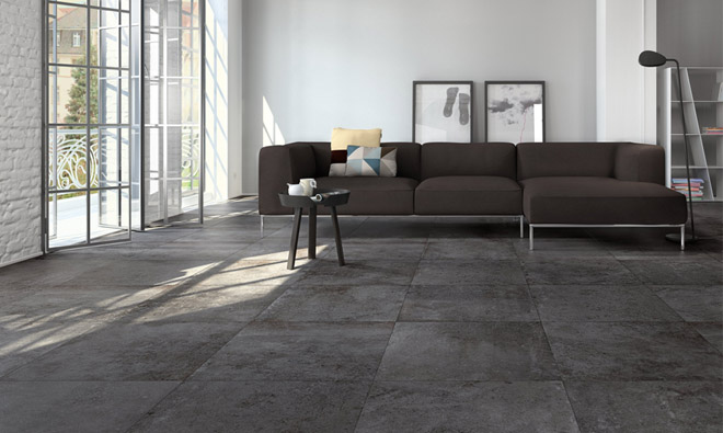 Carrelage contemporain mineral cemento anthracite porto for Carrelage 60x60 gris anthracite