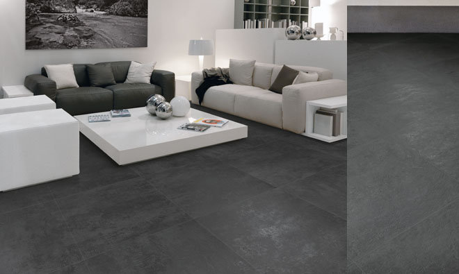 Salon carrelage gris anthracite clermont ferrand 17 for Carrelage gris anthracite