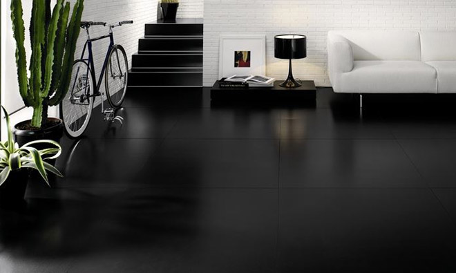 Carrelage extra fin kerlite absolute style black porto for Carrelage faible epaisseur renovation