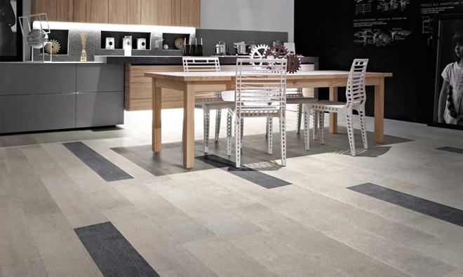 Carrelage imitation parquet bois national road coffrage grey et black - Carrelage et parquet dans meme piece ...
