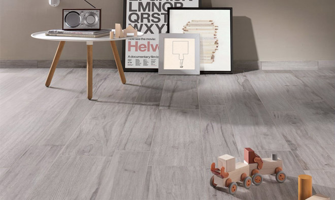 Carrelage imitation parquet bois scandinave gris for Carrelage cuisine imitation parquet
