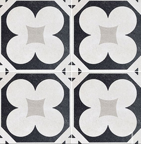 Carrelage aspect carreau ciment cement 20 black white for Gres cerame imitation carreau de ciment
