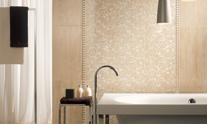 Carrelage aspect marbre taj mahal travertino beige for Salle de bain verte et beige