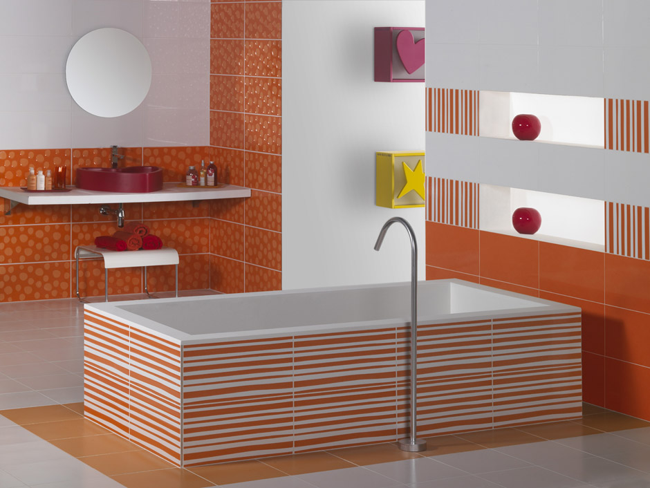 carrelage de salle de bain agatha ruiz de la prada naranja. Black Bedroom Furniture Sets. Home Design Ideas