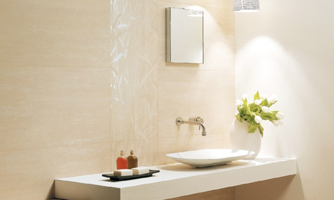 Carrelage de salle de bain travertin patin roman white for Salle de bain bois et travertin
