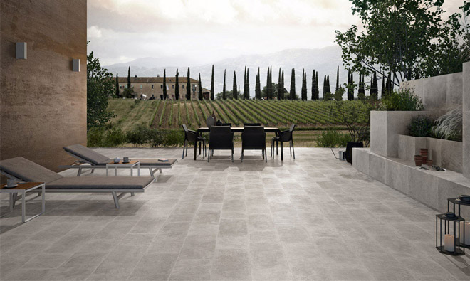 Carrelage terrasse jaipur gris porto venere for Photo terrasse carrelage gris
