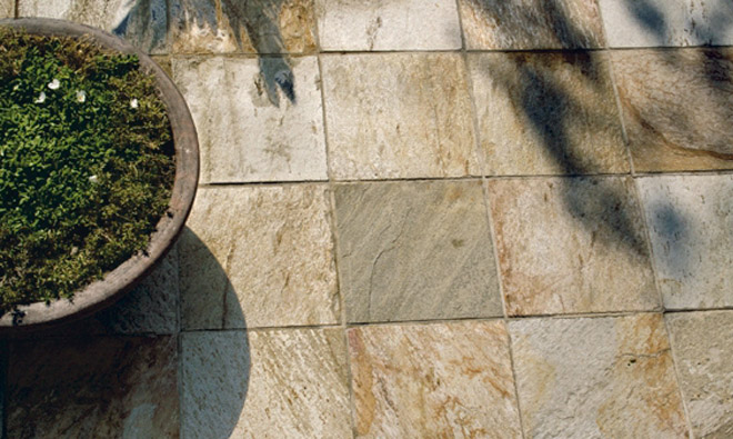 Carrelage terrasse ext rieure quartz brazil gold porto for Carrelage quartzite