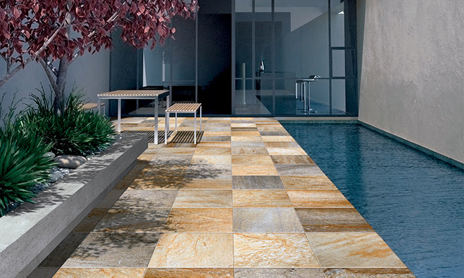 Carrelage terrasse quartz himmalaya gold porto venere for Carrelage quartz