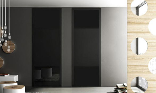 porte battante master verre noir porto venere. Black Bedroom Furniture Sets. Home Design Ideas