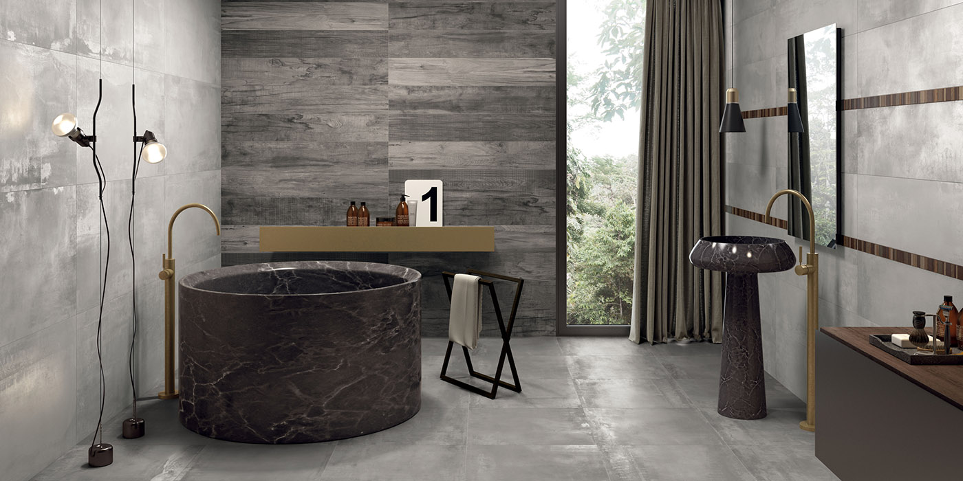 carrelage de salle de bain aspect b ton gris et bois intramuros compo 1 porto venere. Black Bedroom Furniture Sets. Home Design Ideas