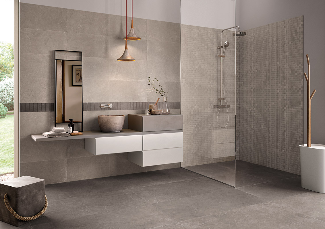 Carrelage salle de bain aspect pierre grise contemporaine for Carrelage marazzi salle de bain