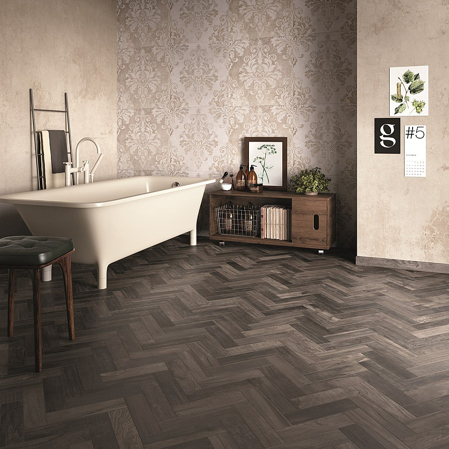 nos carrelages imitation parquet bois style chevron porto venere. Black Bedroom Furniture Sets. Home Design Ideas