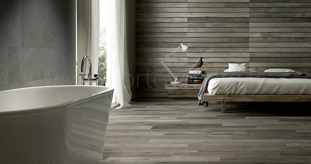 nos carrelages aspect parquet bois gris porto venere. Black Bedroom Furniture Sets. Home Design Ideas